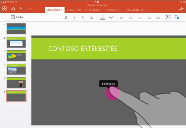 Diagram beillesztése az iPad-alapú PowerPointba