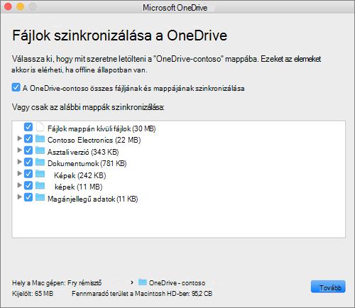 Képernyőkép a OneDrive beállítási menüjéről, melyen a szinkronizálandó mappák vagy fájlok vannak kiválasztva.