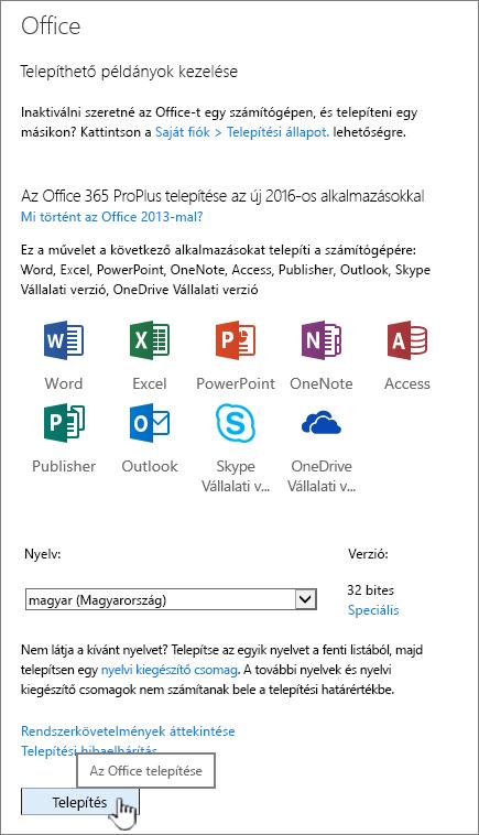Az Office 365 saját szoftver lapja az Office 2016 letöltéséhez