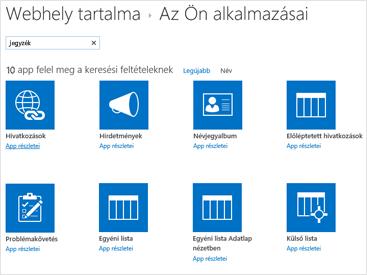 Kép a webhelytartalom Alkalmazás hozzáadása oldaláról