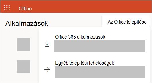 Képernyőkép az Office.com-ról munkahelyi vagy iskolai fiókkal történő bejelentkezés esetén