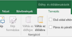 Excel Design-eszköztár – lebontás