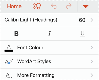 Betűtípus menü az iOS PowerPoint menüben.