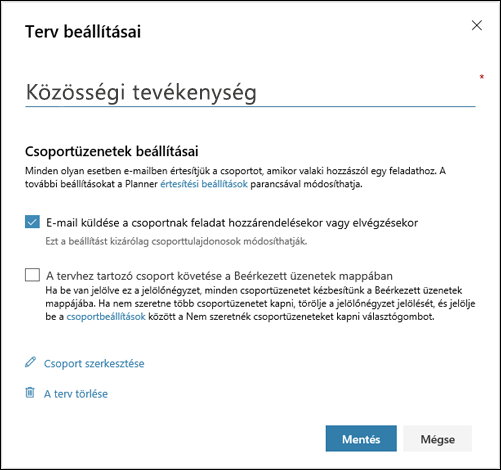 """Képernyőkép: Az """"E-mail küldése a terv csoportjának..."""" beállítás a terv beállításaihoz"""