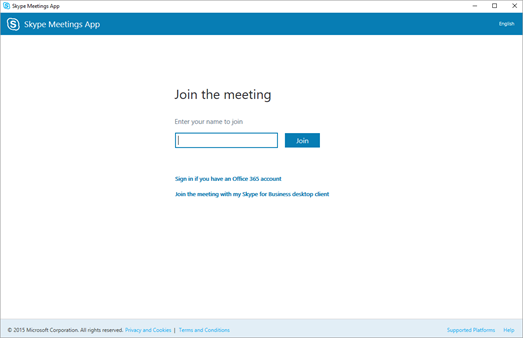 Skype-értekezletek alkalmazás képernyő