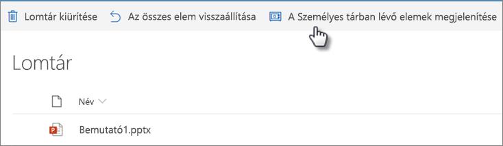 """A OneDrive Lomtár nézete, amelyen a """"személyes Vault-elemek megjelenítése"""" parancs látható"""