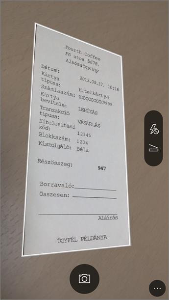 Képernyőkép: fényképezés az Office Lensszel