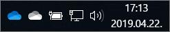 A OneDrive szinkronizálási ügyfelének kék és fehér felhő ikonja