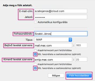 iCloud e-mail konfigurálása a Mac Outlook 2016-ban