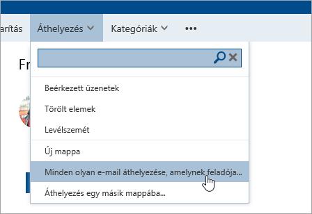 Képernyőkép Az összes e-mail áthelyezése innen parancsról
