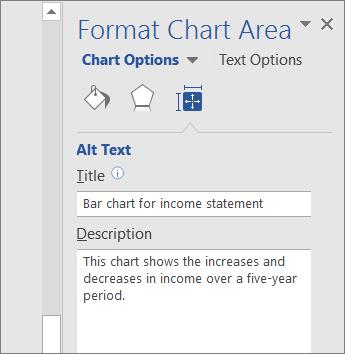 Képernyőkép a kijelölt diagramot leíró Diagramterület formázása munkaablak Helyettesítő szöveg csoportjáról
