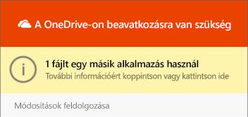 """OneDrive """"fájl a használatban"""" párbeszédpanel"""