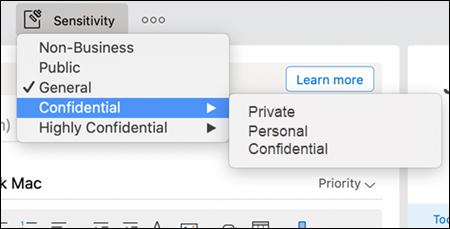 Példa az Outlookban elérhető lehetséges legördülő menüre.