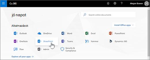 Az Office 365-kezdőlap kijelölt SharePoint paranccsal