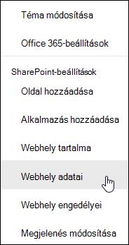 SharePoint-webhely információk mutató hivatkozás