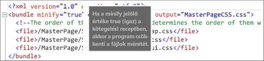 Képernyőkép a true értékre állított minify jelzőről