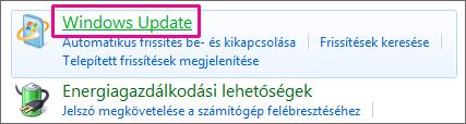 A Windows Update hivatkozás a Vezérlőpulton