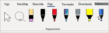 A Microsoft 365 Rajzeszközök tollai
