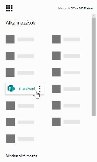 Az Office 365 app-megnyitó ikonja a Kiemelt SharePoint-alkalmazással