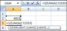 Cella és érték hozzáadása a SZUM függvénnyel