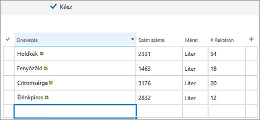 A Gyorsszerkesztés képernyő felvett oszlopokkal és adatokkal
