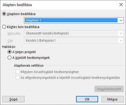 Képernyőkép az Alapterv beállítása párbeszédpanelről