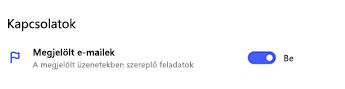 Bekapcsolt állapotú megjelölt e-mail-kapcsolat a To Do beállításaiban
