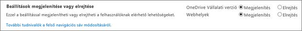 SPO SharePoint-beállítások – Megjelenítés/elrejtés szakasz