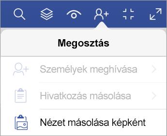 A Megosztás lehetőség az iPad Visio megjelenítőben