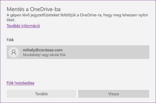 A OneNote Mentés a OneDrive-ra párbeszédpaneljének képe
