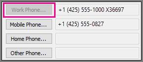 Munkahelyi telefonszám parancs szürkén jelenik meg.
