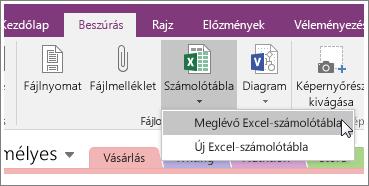 Képernyőkép: a Számolótábla beszúrása gomb a OneNote2016-ban.