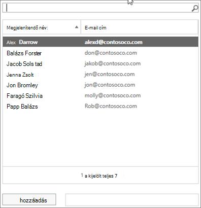 Képernyőkép: Gépeléssel keressen egy felhasználóra, vagy válasszon a listából