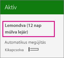 Előfizetést megjelenítő képernyőkép, amelyen az automatikus megújítás ki van kapcsolva.