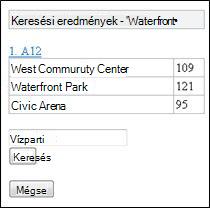 Keresési eredmények az Excel mobil megjelenítőjében