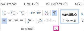 A Bekezdés csoport párbeszédpanel-megnyitó ikonja