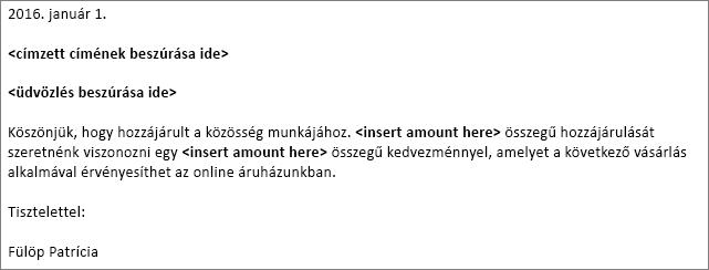 Egy körlevél alapjául szolgáló mintalevél a Wordben.