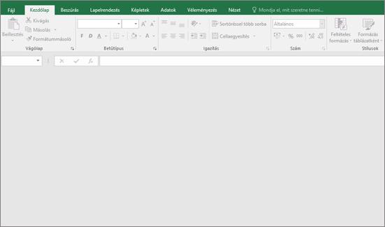 A gomb nem érhető el; az üres Excel-ablak Nem megnyitott munkafüzet.