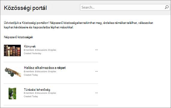 Példa: közösségi portál