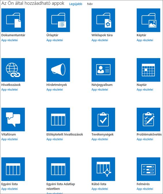 Képernyőkép Az Ön alkalmazásai lap első képernyőjéről