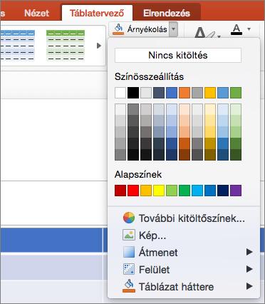 Képernyőkép jeleníti meg a Táblázateszközök Tervezés lapjának hol a mintázat lefelé mutató nyílra a program kijelöli elérhető beállítások, beleértve a Nincs kitöltés, színek, alapszínek, További kitöltőszínek parancsra, kép, Színátmenet, anyagminta és táblázat háttér megjelenítése.