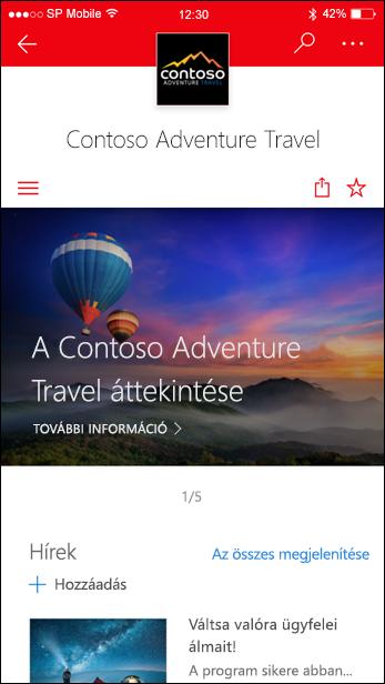 SharePoint kommunikációs webhely egy mobileszköz képernyőjén