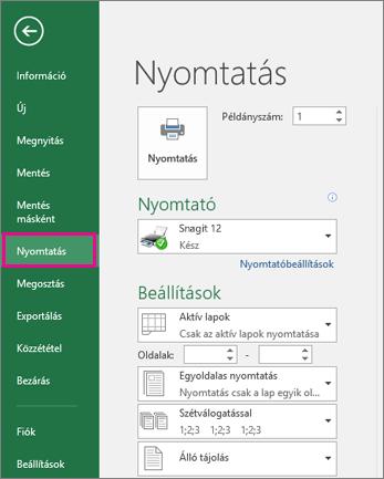 Kattintás a Fájl > Nyomtatás parancsra a munkalap előnézetének megjelenítéséhez