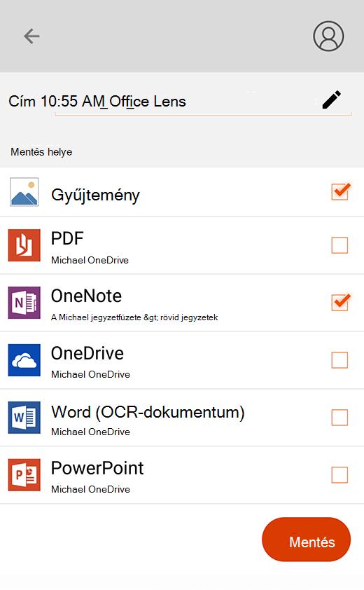 Az exportálási beállítások az Android Office Lensben