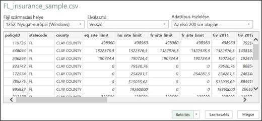 Az Excel Power BI szöveg/CSV csatlakoztatására szolgáló továbbfejlesztett párbeszédpanelje