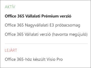 Az Office 365 Felügyeleti központ Előfizetések lapjának képernyőképe. Az előfizetések az állapotuk szerint vannak csoportosítva.