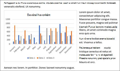 Diagram beillesztése a Word documement a másolás és beillesztés
