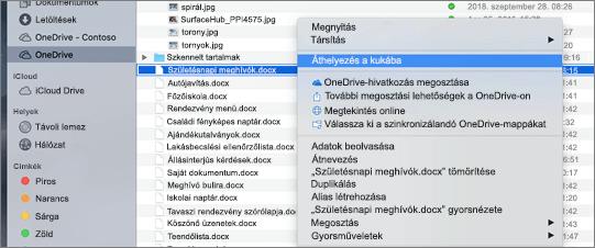 A OneDrive-ban a Mac Finderben a fájl törléséhez kattintson a helyi menü helyi menüjére