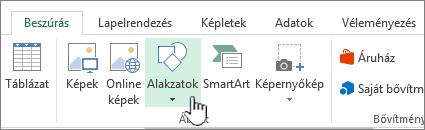 Az Excel Alakzatok beszúrása gombja
