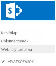 A Webhely tartalma hivatkozás a Fontos rovatok sávon